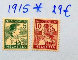 1915  JUVENTUTE   YV 149/150 * Neuf Charnière  Cote 134 Euros - Unused Stamps