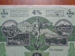 TCHECOSLOVAQUIE - PRAGUE 1928 - EMPRUNT 4% - TITRE DE 400 COURONNES - Zonder Classificatie