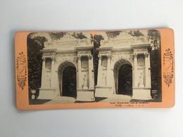 Fin 19ème Siècle Photo Carte Stéréoscopique Stéréo GENOVA 1123 Gênes Villa Pallavicini Arc De Triomphe Vues D'Italie - Genova (Genoa)