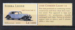 1938 CITROEN LIGHT 15 (Citroën Traction Avant) Car Stamp (Sierra Leone 2001) - MNH (1W2297) - Coches