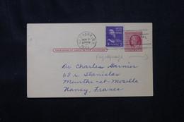 ETATS UNIS - Entier Postal Commercial + Complément De New York Pour La France En 1957 - L 75872 - 1941-60