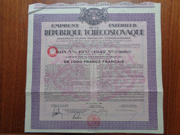 TCHECOSLOVAQUIE - EMPRUNT EXTERIEUR REPUBMIQUE TCHECOSLOVAQUE - BON 5% 1937-1942 , 1 000 FRS FRANCAIS - 1937 - Zonder Classificatie
