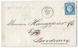 TIMBRES N° 60/A TYPE 1; GRANDE CASSURE ; LETTRE ENTIÈRE TIMBRE CÉRÈS 150 A2 6ème état;  RARE; TTB - 1871-1875 Cérès