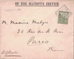 AFRIQUE DU SUD - LE CAP DE BONNE ESPERANCE - LETTRE ENTETE ON HER MAJESTY'S SERVICE DE CAPETAWN EN 1896 POUR PARIS. - Cape Of Good Hope (1853-1904)