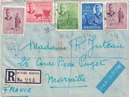 """MAURICE - LETTRE RECOMMANDEE DE QUATRE BORNES POUR MARSEILLE - CACHET PAQUEBOT """"COMPIEGNE"""" COMPAGNIE DES MESSAGERIES MAR - Mauritius (...-1967)"""