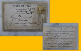 Grenoble Pour Paris 1875, CP Précurseur 15 C Ceres, éditeur Dunod,  Ref 2227 ; Ref CP04 - 1849-1876: Klassik