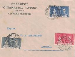 CHYPRE - LETTRE ENTETE DE LARNACA DU 12 MAI 1937 - BEL AFFRANCHISSEMENT DU CORONNEMENT DE GEORGES VI EN 1937. - Zypern (...-1960)