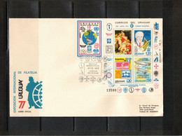 Uruguay 1977 World Football Cup Argentina,International Philatelic Exhibition Block FDC - 1978 – Argentina