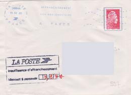 Griffe 3 Lignes En Encadré LA POSTE Insuffisance D'affranchissement Montant à Percevoir 3.27 - Lettere Tassate