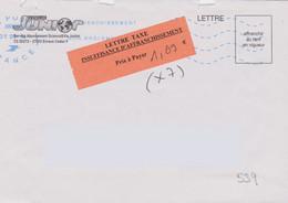 Griffe 3 Lignes Sur Vignette Adhésive LETTRE TAXE Insuffisance D'affranchissement Prix à Payer + Néopost 38909 - Lettere Tassate