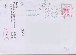 Griffe 5 Lignes Sur Vignette Adhésive TAXE Poids Manque Af... Taxe De Traitement Total - Portomarken