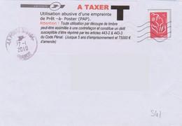 Griffe 8 Lignes Sur Vignette Adhésive  A Taxer Utilisation Abusive D'une Empreinte De Prêt à Poster  (voir Déscriptif) - Portomarken