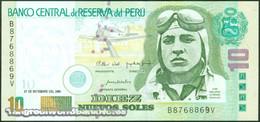 TWN - PERU 175 - 10 Nuevos Soles 27.9.2001 B XXXXXXX V - Printer: DLR UNC - Peru