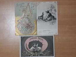 Lot De 3 Belles Cartes 1903 JOYEUSES PÂQUES Enfants œuf Jardin Campagne - Altri