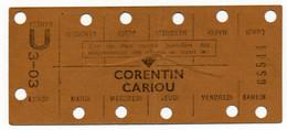 METRO PARISIEN // CARTE HEBDOMADAIRE // STATION CORANTIN CARIOU - Europa