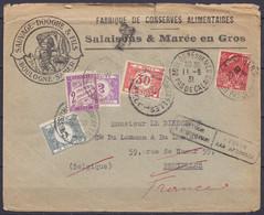 L. Entête Fabrique De Conserves Sauvage-Dooghe Affr. N°272 Càd BOULOGNE-SUR-MER /11-6-1931 Pour Et Taxé 37c à BRUXELLES - Brieven