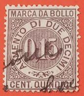 MARCA DA BOLLO - A TASSA FISSA - 1891 - CENTESIMI 15 - FILIGRANA CORONA DENT. 14 - MARCA PER LIBRETTO DI RISPARMIO - Zonder Classificatie