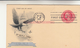 Stati Uniti, First Day Issue. 2 Cts Reply Card 1951 - 1941-60