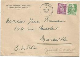 GANDON 5FR+10FR LETTRE POSTE AUX ARMEES 29.3.1949 + ENTETE GOUVERNEUR MILITAIRE FRANCAIS DE BERLIN - Militaire Stempels Vanaf 1900 (buiten De Oorlog)