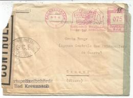 GERMANY REICH EMA 075 BADKREUZNACH 4.9.1946 DEVANT LETTRE FRONT COVER POUR GENEVE CENSURE OUVERT G.C.E. - Guerra Del 1939-45