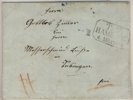 Hamburg/Württemberg - TT Hamburg Ra3 A. Francobrief N. Tübingen 1844 - Hambourg