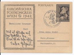 Dt.- Reich (002891) Ganzsache P294b Europäischer Postkongress Wien 1942, Gestempelt Am 12.10.1942 Mit Sonderstempel Wien - Ganzsachen