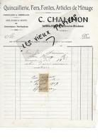 70 - Haute-saône - MELISEY - Facture CHALIMON - Quincaillerie, Fers, Fontes, Articles De Ménage, Etc - 1909 - REF 173B - 1900 – 1949