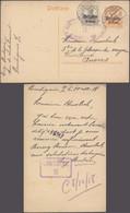 """Guerre 14-18 - EP Au Type 8ctm Orange + OC10 Obl à Pont """"Charleroi"""" (1918) + Censure N°9 > Anvers / Controle. - Duitse Bezetting"""