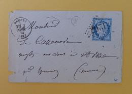 CERES DENTELE 60 SUR LETTRE DE DAMERY A AVIZE DU 2 FEVRIER 1874 (GROS CHIFFRE 1267) - 1849-1876: Période Classique