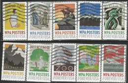 WPA Posters USA Issue 2017 Cpl 10v Set Used - Used Stamps