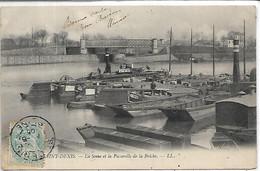 93, Seine Saint-Denis, SAINT-DENIS, La Seine Et La Passerelle De La Briche, Péniches,  Scan Recto-Verso - Saint Denis