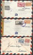 Panama - 4 Lettres Correo Aereo - Vers Amérique Dont Censure + P Et M Curie - Espadon - - Panama
