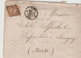 """PARIS  -  Cachet """"  PARIS L """" 1862 - Napoleon  Orange - Au Verso Ambulant PARIS à FORBACH - 1849-1876: Période Classique"""