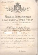 Medaglia Guerra Italo Turca 1912 Brevetto X Soldato 51° Fanteria Diploma Attestato - Documenti
