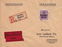 ALLEMAGNE OCCUPATION BELGIQUE  1943 LETTRE RECOMMANDEE EXPRES DE VERVIERS - Occupation 1938-45