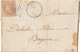 1869 - LAC DE URT POUR BAYONNE Cachet Distribution Type 22 + GC 4691 SUR N° 21 Angle Inf G Déchiré - 1849-1876: Klassik
