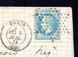 YT 29 SUR LETTRE - OBLITERATION 05 JUIL 1871 - ETOILE DE PARIS EVIDEE - 1863-1870 Napoléon III. Laure