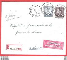 L Baudouin Lunettes + Poortman  Obl  TRAZEGNIES 14 XI 64 Recommandé + Expres  Tarif Pas Courant - Briefe U. Dokumente