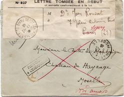 FRANCE : RAL . AVEC ETIQUETTE . N° 827 . LETTRE TOMBEE EN REBUT . DEPOT CENTRAL DE PARIS . 1946 . - Storia Postale