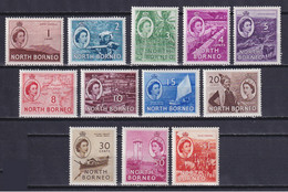 NORTH BORNEO 1954, SG# 372-383, Short Set, Architecture, Ships, MNH/MH - Borneo Del Nord (...-1963)