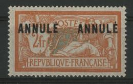"""N° 145 - CI 1 COTE 168 €. Neuf * (MH) Cours D'instruction. 2Fr Merson Avec Deux Surcharges """"ANNULE"""". Voir Description - Lehrkurse"""