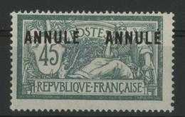 """N° 143 - CI 2 COTE 126 € Neuf * (MH) Cours D'instruction. 45ct Merson Avec Deux Surcharges """"ANNULE"""". TB - Cours D'Instruction"""
