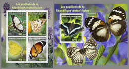 CENTRAL AFRICA 2020 MNH Butterflies Schmetterlinge Papillons M/S+S/S I - OFFICIAL ISSUE - DHQ2045 - Butterflies