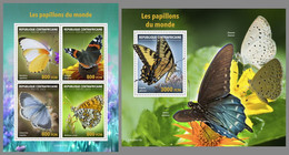 CENTRAL AFRICA 2020 MNH Butterflies Schmetterlinge Papillons M/S+S/S II - OFFICIAL ISSUE - DHQ2045 - Butterflies