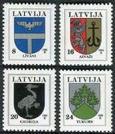 Letonia 1995 Correo 359/362 ** Serie Básica. Escudos Regionales (4 Val.) - Lettonie
