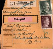! 1943 Tuliszkow über Turek, Wartheland Nach Seyda, Paketkarte, Deutsches Reich, 3. Reich - Covers & Documents