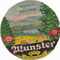 Ancienne étiquette Fromage MUNSTER  Fabriqué Dans Les Vosges  AM - Formaggio