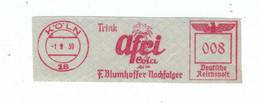 Francotyp F - Trink Afri Cola - Blumhoffer Nachfolger - Köln 1.9.1939 [Beginn WK II] Palme - Konkurrenz Zu Coca-Cola - Affrancature Meccaniche Rosse (EMA)