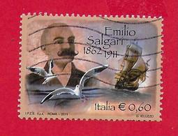 ITALIA REPUBBLICA USATO 2011 - Centenario Della Morte Di Emilio Salgari - € 0,60 - S. 3231 - 2011-...: Usati