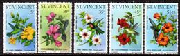 ST VINCENT - 1976 HUMMINGBIRDS & HIBISCUSES SET (5V) FINE MNH ** SG 487-491 - St.Vincent (...-1979)